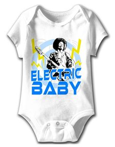 Jimi Hendrix Electric Baby One-Piece Bodysuit - This white one-piece bodysuit features a black and white portrait of Jimi Hendrix playing guitar printed on its front, with a background of blue circles