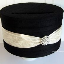 Wedding Card Box Money Holder One Tier shown in black and champagne from LaceyClaireDesigns