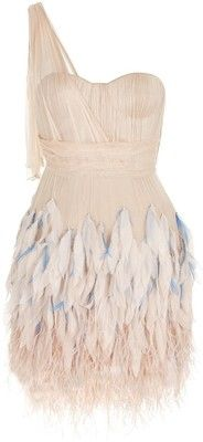 feathered tulle cocktail dress