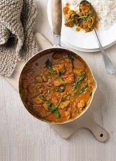 Lamb and spinach curry: A classic – this would make a great economical, and much tastier, alternative to a Friday night take away. Serve with rice or naan.