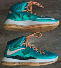 Nike LeBron 10 Miami Dolphins Atomic Teal Orange Basketball Size 9 541100 302 #Nike #BasketballShoes Ditch The Carbs, Cut Clothes, Magnetic Eyelashes, Teal Orange, Miami Dolphins, Nike Lebron, Basketball Shoes, New Outfits, Keto