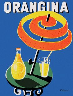 French Cool Pair of Orangina A La Pulpe D/'Orange Glasses Colourful Summer Chic
