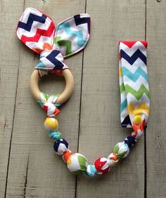 Rainbow Zig Zag Tula snap teether rainbow Tula by TheTeethingFairy: