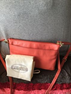 Handbag SALE! Fossil Sydney Salmon Leather Shoulder Bag Credit Card Top Zip X Body $80