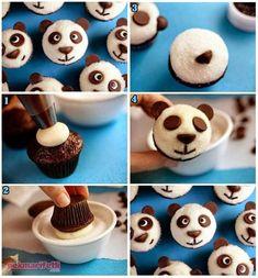 Panda looking to make cupcake Panda Cupcakes, Animal Cupcakes, Mini Cupcakes, Dollar Store Christmas, Christmas Diy, Coconut Macaroons, Snacks Für Party, Yellow Cake Mixes, Food Humor