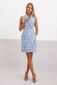 Женское голубое платье-жакет платье,женское,мода,комбинированное,летнее платье,прямое,голубое,футляр