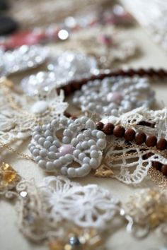 Lace and beaded necklaces