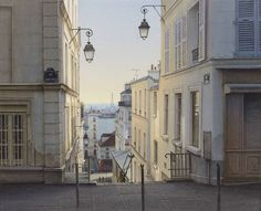"""""""Plongée parisienne de la rue Barsacq 18eme (Diving in Paris from Barsacq street 18th)"""" By Thierry Duval, French Watercolor Artist  original watercolor on Arches paper 356gr cold pressed; 33 x 41 cm; 13 x 16.1 in. Private Collection - Suiha Gallery, Tokyo"""