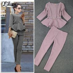 2019 Spring Autumn Fashion Women's Business Pants Suits Houndstooth Checker Pattern Ruffles Suits For Women 2 Pieces Spring Autumn Fashion Women s Business Pants Suits Houndstooth Checker Pattern Ruffles Suits For Women 2 Pieces Set Hijab Fashion, Boho Fashion, Fashion Outfits, Womens Fashion, Fashion Top, Fashion Rings, Fashion Black, Runway Fashion, Spring 2015 Fashion