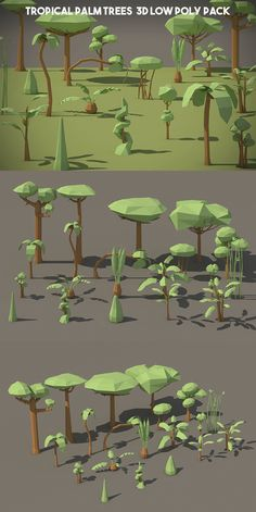 Free Tropical Palm Tree Low Poly Models is a thematic collection of 20 high- quality objects. You can create a beautiful tropical forest in your game project Modelos Low Poly, Modelos 3d, Low Poly Games, 2d Game Art, 3d Tree, Low Poly 3d Models, 3d Fantasy, 3d Artwork, Environment Concept Art