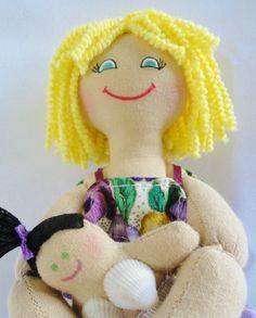 Blonde Doll Holding Mermaid Baby Doll  by JoellesDolls, $30.00
