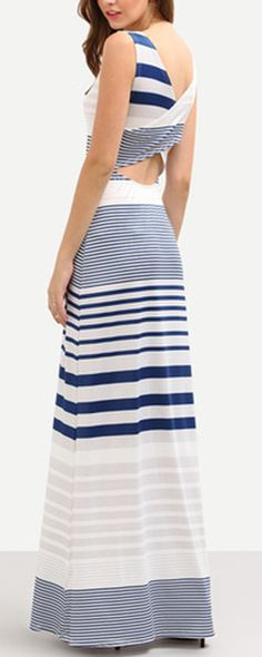 Cutout Cross Wrap Back Multicolor Striped Tank Dress. Beach dress for summer. Super comfortable!