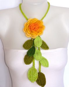 crochet rose necklace in yellow and green
