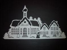 Winterstadt    filigranes Fensterbild aus Tonkarton Winter Weihnachten