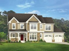 Colonial Home Plan with 2851 Square Feet and 4 Bedrooms from Dream Home Source | House Plan Code DHSW077535