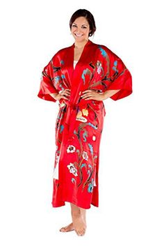 """Inspired by Henri Matisse's """"Harmony in Red,"""" this venetian red gracious kimono robe is elegantly hand painted in eye-catching colors with the painting of natures bounty and beauty set at a table. The kimono reflects the joys of a home showered with content and bliss. Makes a... more details available at https://perfect-gifts.bestselleroutlets.com/gifts-for-women/clothing-shoes-jewelry-gifts-for-women/product-review-for-womens-luxury-silk-kimono-robe-grace-eco-"""
