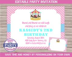 Merry-Go-Round Editable Invitation pink and by EasyPartyPrintables