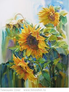 Girasoles, interested in the colors used in the leaves. Sunflower Art, Watercolor Sunflower, Watercolor Flowers, Sunflower Paintings, Art Aquarelle, Art Watercolor, Art Floral, Beautiful Paintings, Lovers Art