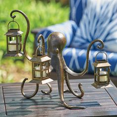 Add a little extra glow to your backyard ambiance. You can use real or rechargeable tea lights in the 3 lanterns that the octopus is holding.