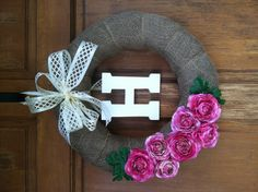 Monogrammed spring wreath for the front door. So pretty!