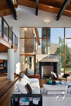 contemporary interior design photo, living room toward fireplace and windows, ketchum, id