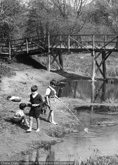 Some old-fashioned fun fishing down by the River Mole. c.1955 #nostalgia #childhood