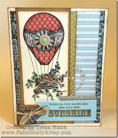 Paper pieced card using CTMH Give A Lift stamp set and Ariana Paper. Created by Tresa Black, Fabulously Artsy.