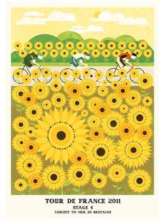 Stage Lorient to Mur de Bretagne, Tour de France Prints by Neil Stevens Illustrations, Illustration Art, Bike Poster, Paris Poster, Poster Series, Bicycle Art, Cycling Art, Graphic Design Posters, Design Typography