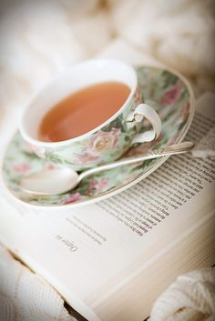 tea. #reading #books #tea