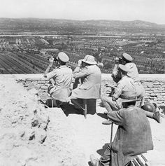 Gade (Cpt) -- Winston Churchill and General Sir Harold Alexander watching an attack on a German-held ridge in Italy, 26 August 1944. -- High quality art prints, canvases -- Imperial War Museum Prints