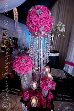 Bling Centerpieces Votives & Candle I Said Yes Now Comes All T