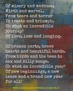 my year in alliteration, new year, the purple yellow beetle, survive, new beginings, 2015, 2016 http://www.elephantjournal.com/2015/12/my-year-in-verse/