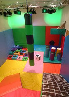 Soft Play Rooms- slope with rope net ladder
