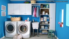 Shelves, wire baskets, and rails to hang clothes make doing laundry a breeze.