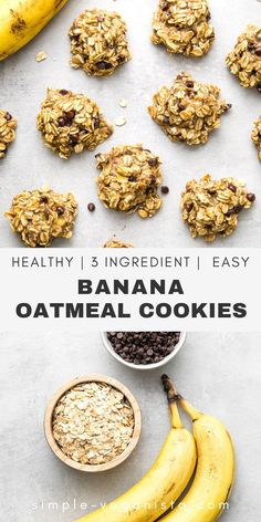 3 Ingredient Banana Oatmeal Cookies recipes with chocolate chips are made with just oats, banana, and chocolate chips for a healthy oatmeal breakfast cookie everyone will love!. #healthyoatmeal #healthyrecipes #veganrecipes #plantbased #bananaoatmealc Low Fat Vegan Recipes, Healthy Vegan Snacks, Vegan Meals, Healthy Baking, Vegan Desserts, Raw Food Recipes, Paleo Recipes, Cooking Recipes, Oatmeal Chocolate Chip Cookie Recipe