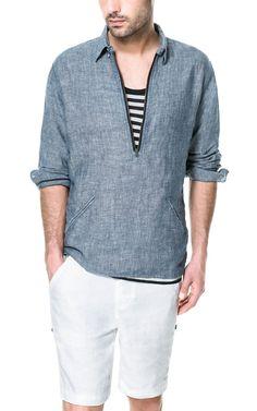 CAMISA CHAMBRAI LINO - ALGODÓN - Camisas - Hombre | ZARA México
