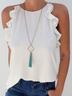 2019 Fashion New Women Sleeveless Loose Shirts Holiday Ladies Summer Casual Solid Blouse Tops Shirt Women Clothes, White / XXL Mode Top, Loose Shirts, Mode Inspiration, Casual Chic, Casual Tops, Ideias Fashion, Casual Outfits, Casual Wear, Fashion Outfits