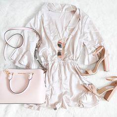 My new pretty silk romper from @zaful 😙 #obsessed #blushpink #silk #ootd #michaelkors #stevemadden