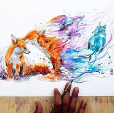 art, fox, and drawing Bild Fox Drawing, Painting & Drawing, Wolf Painting, Drawing Artist, Animal Drawings, Cool Drawings, Fuchs Illustration, Fox Art, Amazing Art
