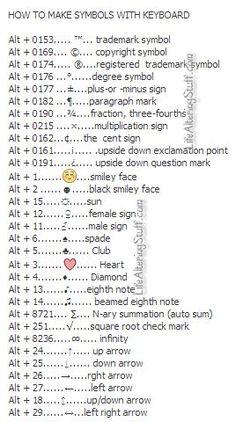 How to make symbols with the Keyboard Computer Shortcuts Simple Life Hacks, Useful Life Hacks, Literacia Digital, Keyboard Symbols, Computer Shortcut Keys, 1000 Lifehacks, Computer Help, Computer Tips, Computer Keyboard