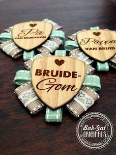 Hand made button badges and rosettes Wedding Badges, Wedding Pins, Wedding Ideas, Woodworking Shop, Woodworking Projects, Laser Cutter Engraver, Protea Wedding, Laser Art, How To Make Buttons
