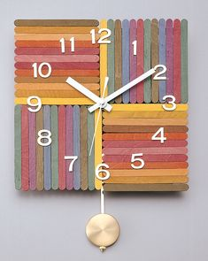 Id Love A Popsicle Stick Clock Like This For My Future Art Studio Or Kids Room Bet I Could DIY That