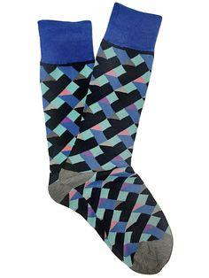 Blue Multi Color Geometric Dress Socks | Luxury Men's Socks Mercerized Cotton