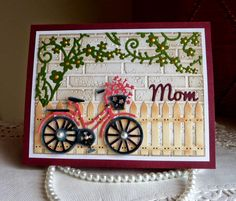 Hello Everyone from Olena! Today I am sharing with you My new Mom card I created with beautiful CottageCutz Collections of. Mom Cards, Fathers Day Cards, Cards For Friends, Cute Cards, Spellbinders Cards, Stampin Up Cards, Bicycle Cards, Paper Cards, Creative Cards