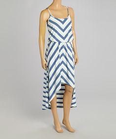 Blue Chevron Blouson Dress