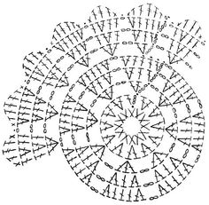 Crochet chart for the dahlia doily Crochet Mandala Pattern, Crochet Doily Patterns, Crochet Diagram, Crochet Chart, Crochet Squares, Thread Crochet, Crochet Granny, Crochet Stitches, Crochet Dollies