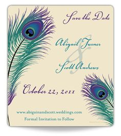 Peacock Pizzazz Save the Date Magnet #wedding #feather #peacock #jeweltone