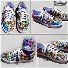 Battery Acid Vans Era Shoes Custom painted Vans Era shoes featuring custom