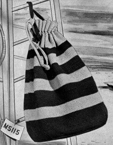 Oversize Duffle Bag crochet pattern from Bags & Accessories, originally published by Heirloom Needlework Guild, Book No. 111, from 1952.