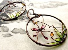 dragonfly earrings. copper wire + painted glass resin.